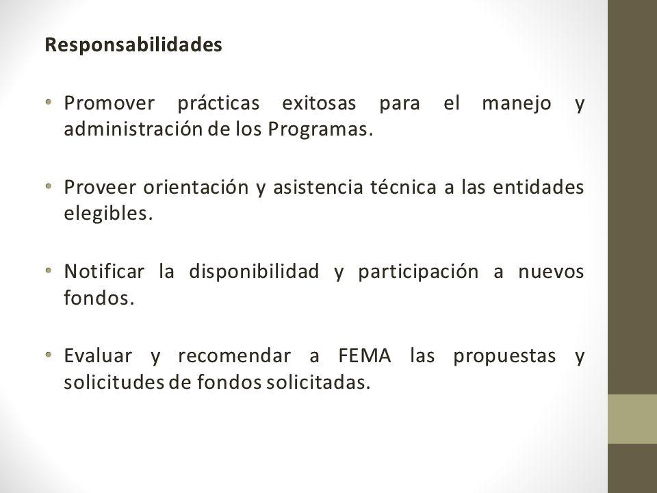 Responsabilidades Promover prácticas exitosas para el manejo y administración de los Programas.