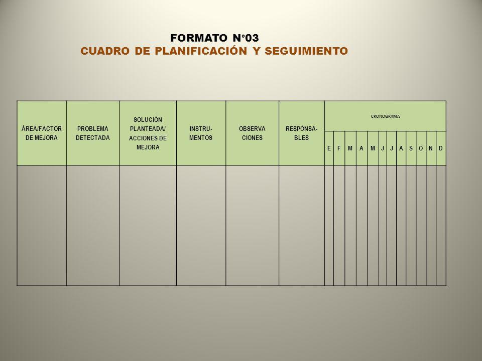 CUADRO DE PLANIFICACIÓN Y SEGUIMIENTO