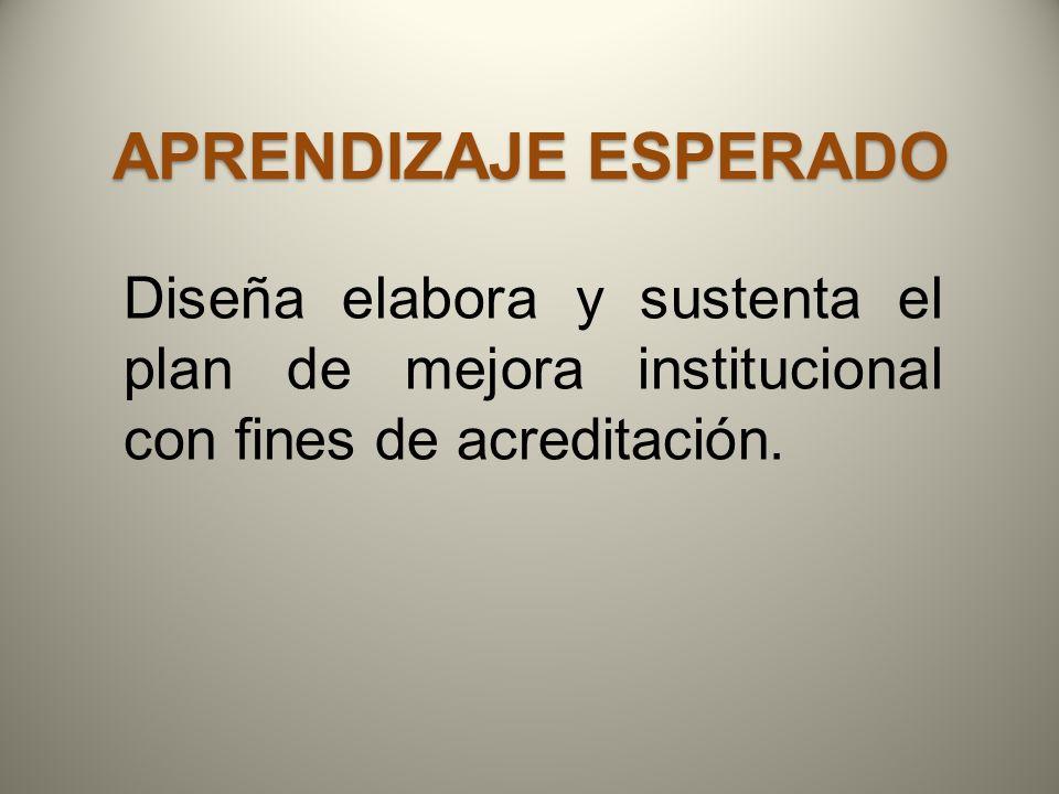 Aprendizaje esperado Diseña elabora y sustenta el plan de mejora institucional con fines de acreditación.