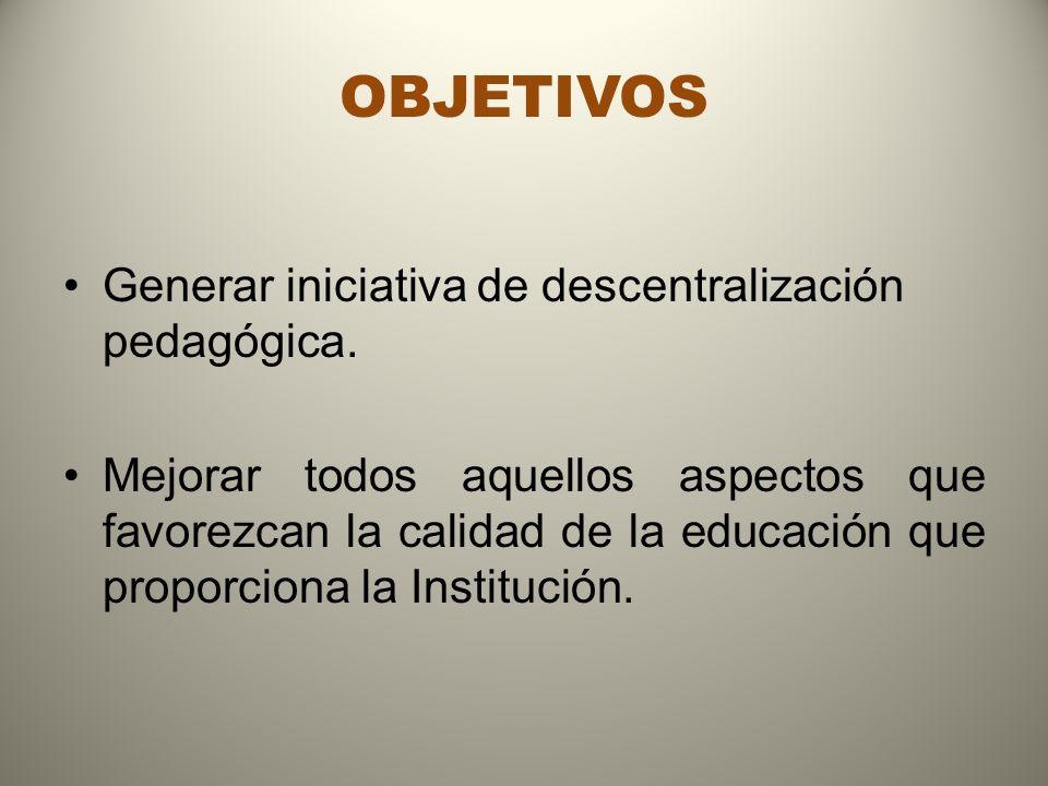 OBJETIVOS Generar iniciativa de descentralización pedagógica.