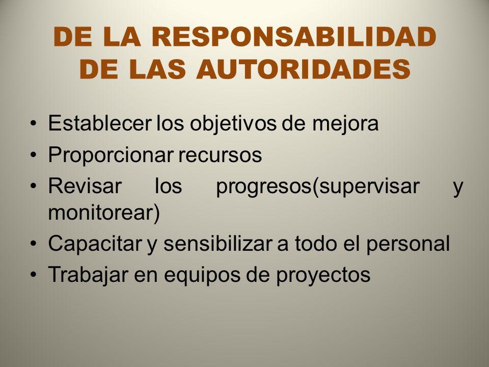 DE LA RESPONSABILIDAD DE LAS AUTORIDADES