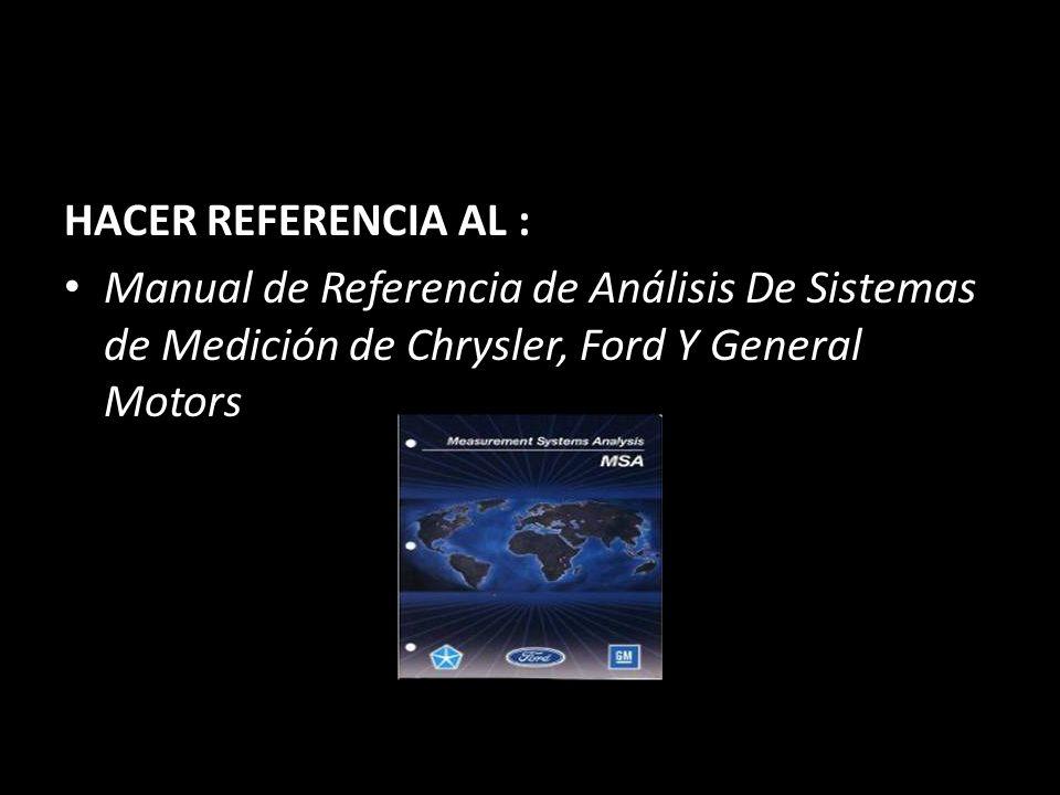 HACER REFERENCIA AL : Manual de Referencia de Análisis De Sistemas de Medición de Chrysler, Ford Y General Motors.