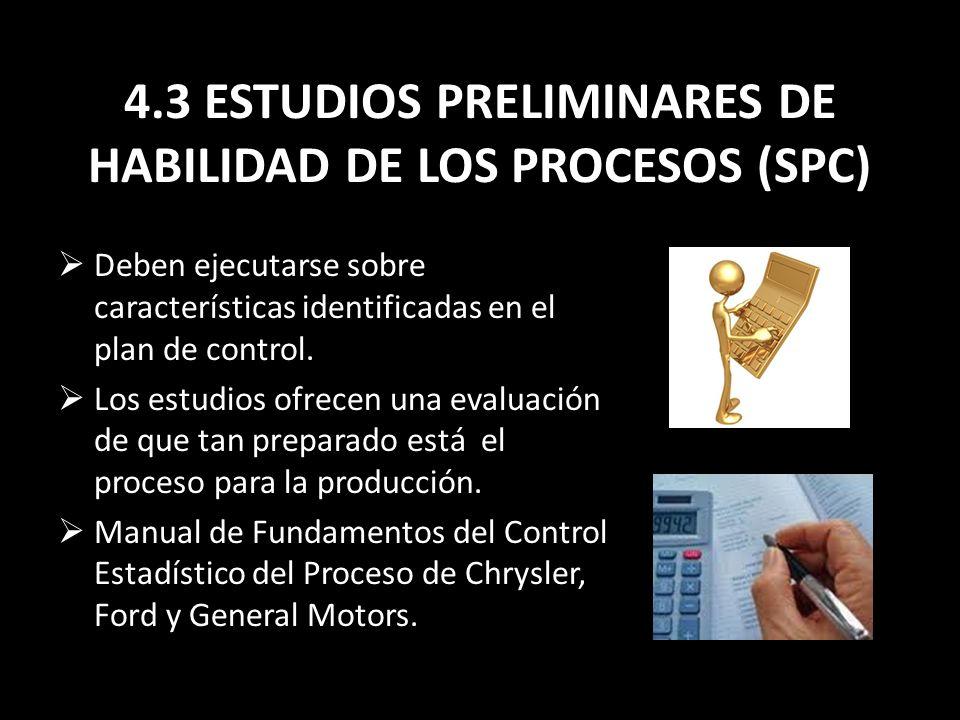 4.3 ESTUDIOS PRELIMINARES DE HABILIDAD DE LOS PROCESOS (SPC)