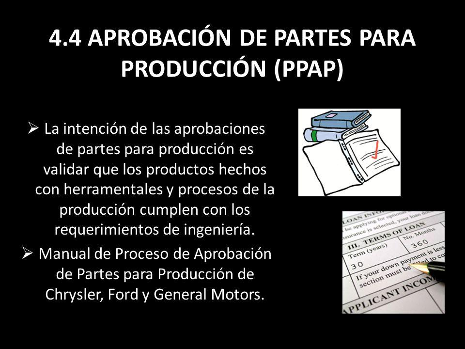4.4 APROBACIÓN DE PARTES PARA PRODUCCIÓN (PPAP)