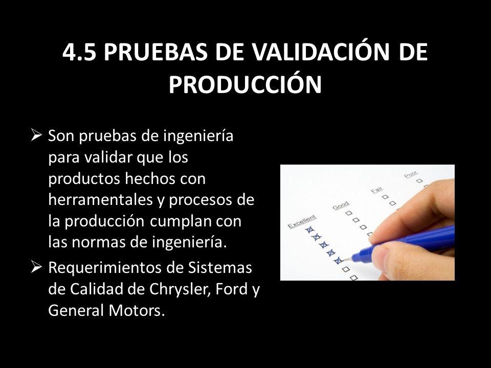 4.5 PRUEBAS DE VALIDACIÓN DE PRODUCCIÓN
