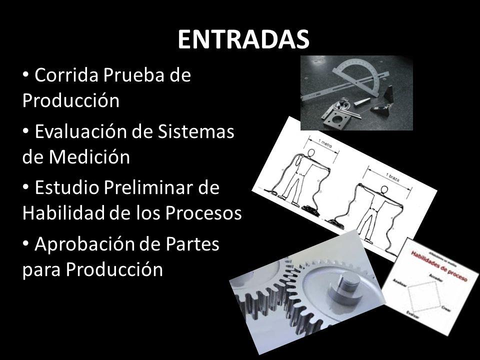 ENTRADAS Corrida Prueba de Producción