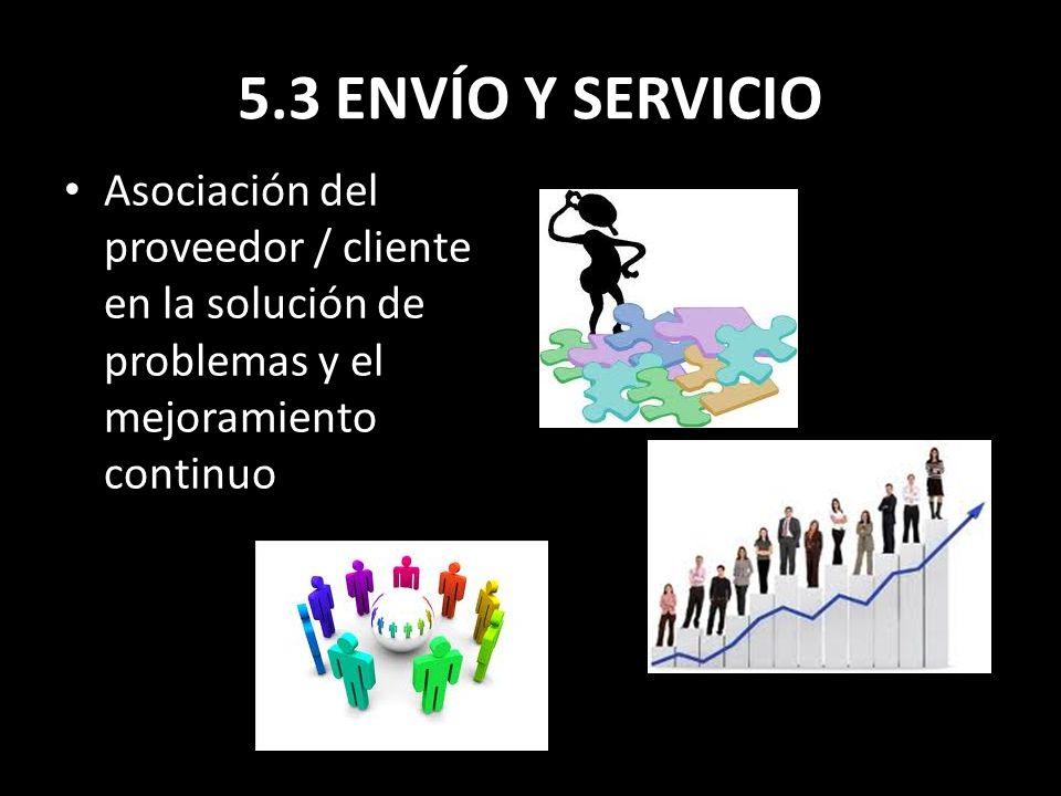 5.3 ENVÍO Y SERVICIO Asociación del proveedor / cliente en la solución de problemas y el mejoramiento continuo.