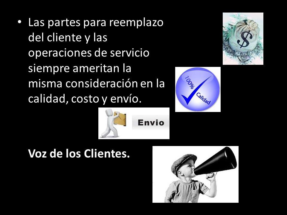 Las partes para reemplazo del cliente y las operaciones de servicio siempre ameritan la misma consideración en la calidad, costo y envío.