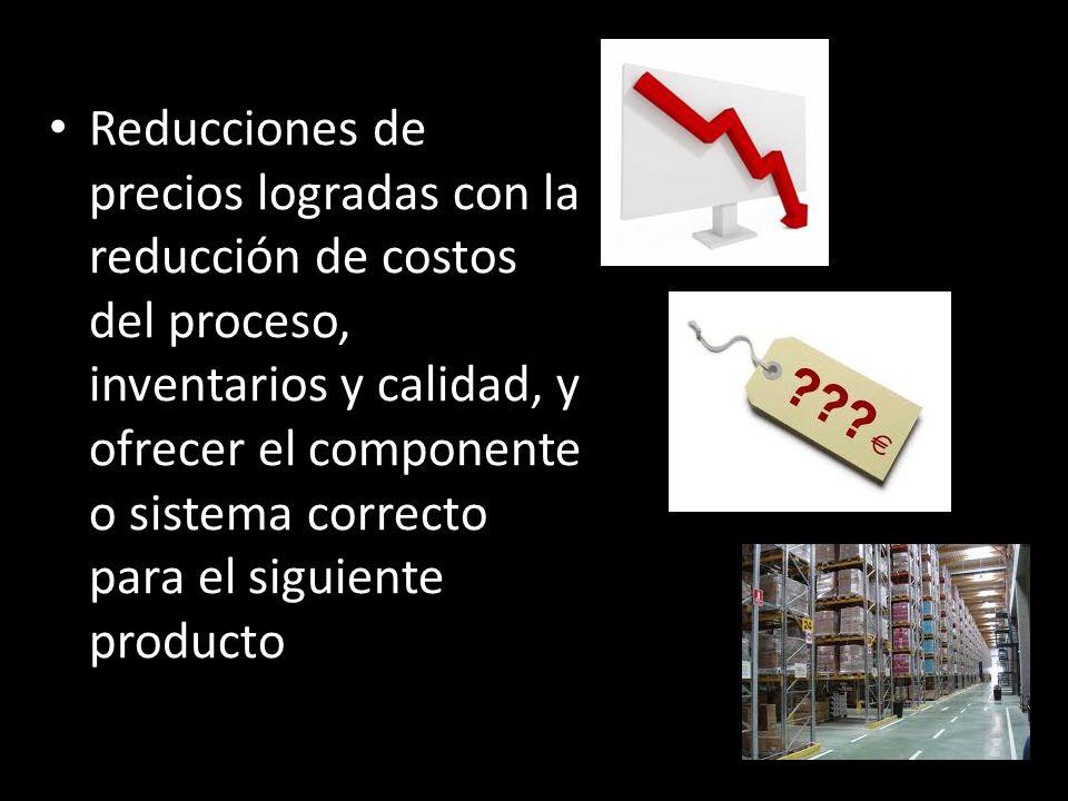 Reducciones de precios logradas con la reducción de costos del proceso, inventarios y calidad, y ofrecer el componente o sistema correcto para el siguiente producto