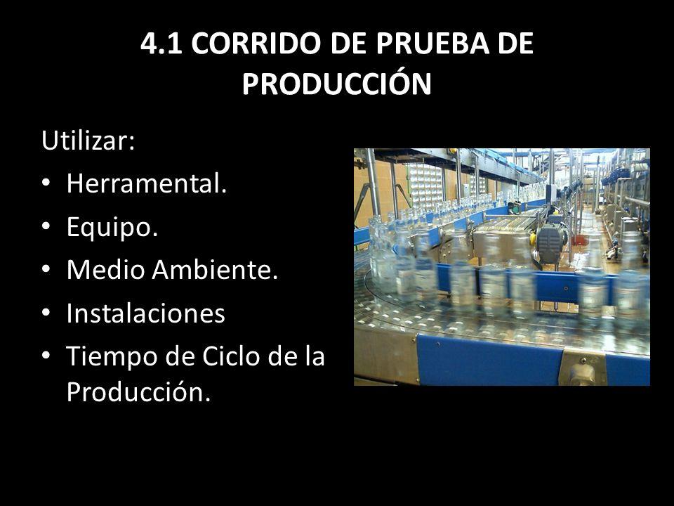 4.1 CORRIDO DE PRUEBA DE PRODUCCIÓN
