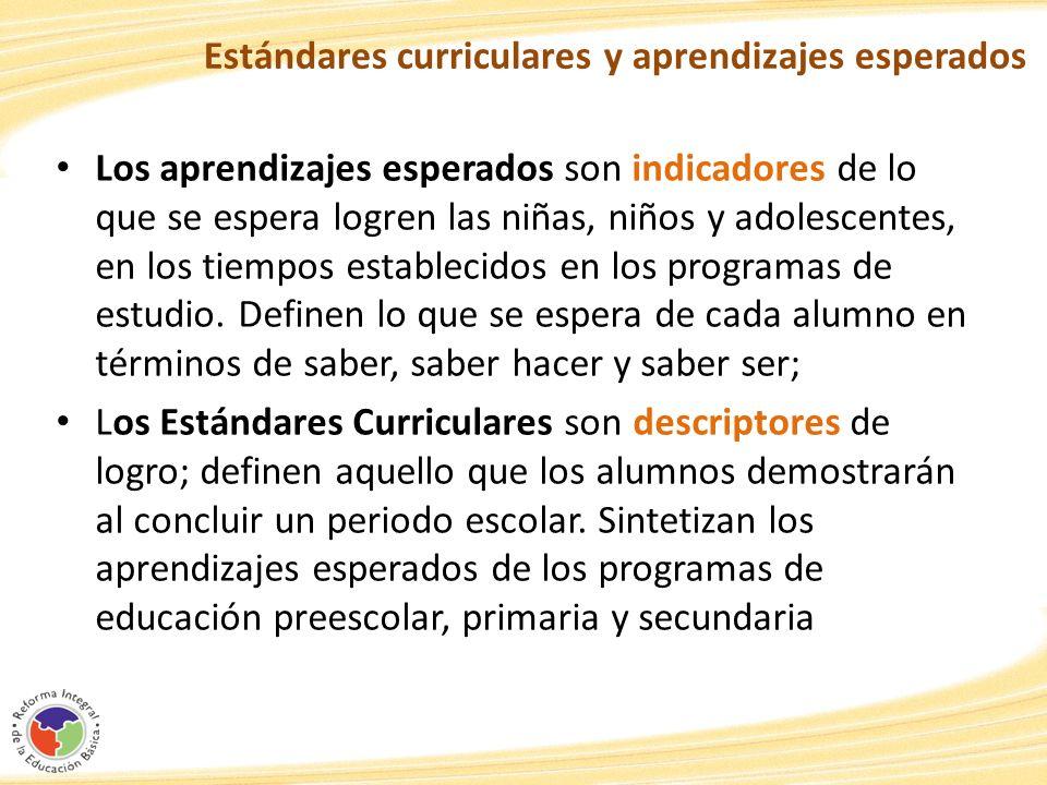 Estándares curriculares y aprendizajes esperados