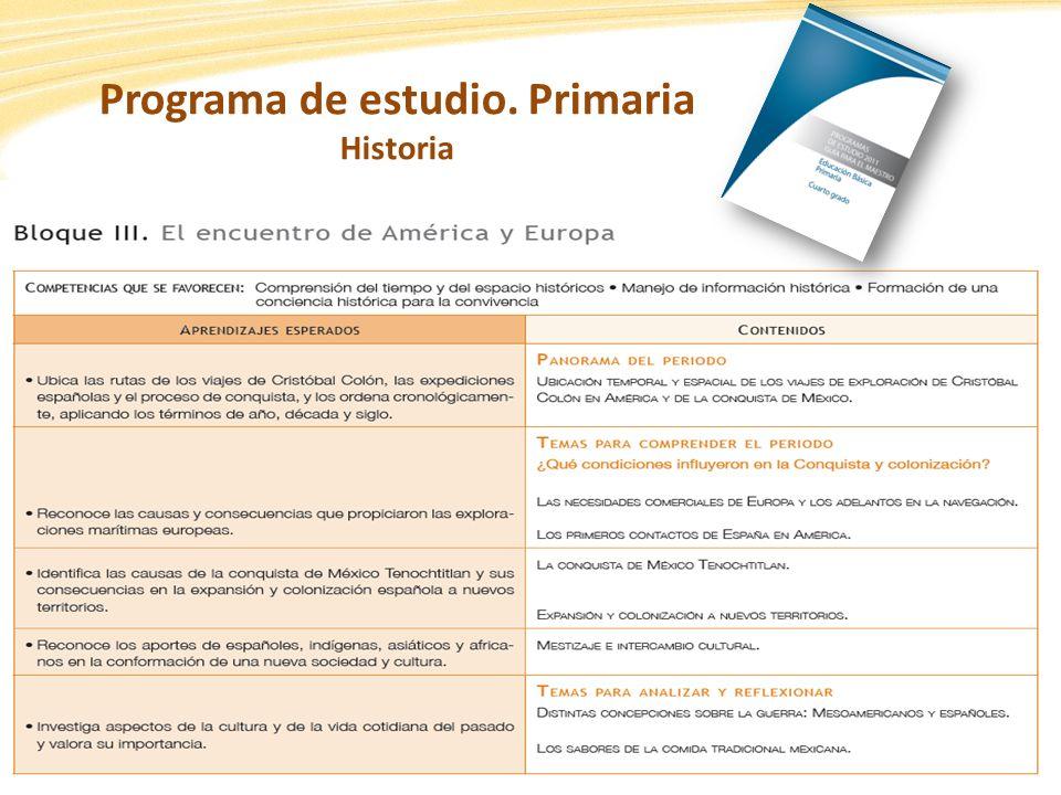 Programa de estudio. Primaria Historia
