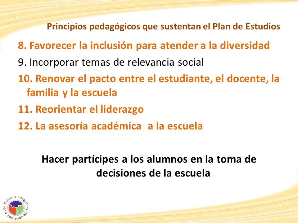 Principios pedagógicos que sustentan el Plan de Estudios