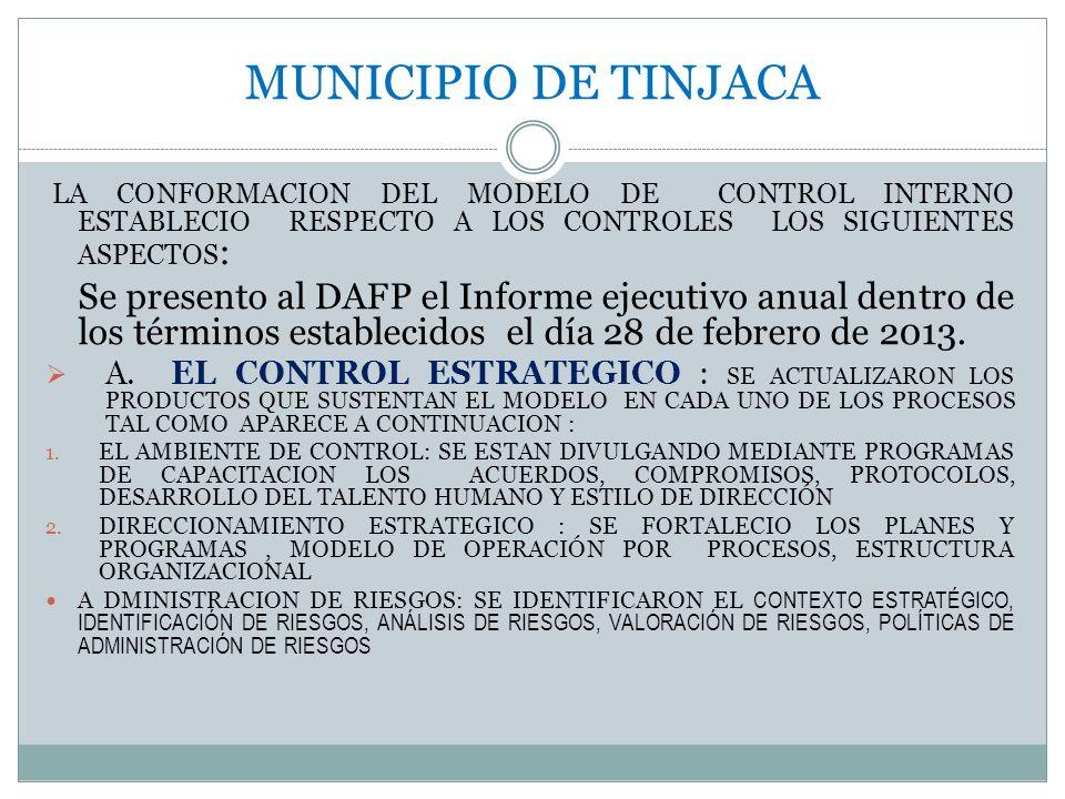 MUNICIPIO DE TINJACA LA CONFORMACION DEL MODELO DE CONTROL INTERNO ESTABLECIO RESPECTO A LOS CONTROLES LOS SIGUIENTES ASPECTOS: