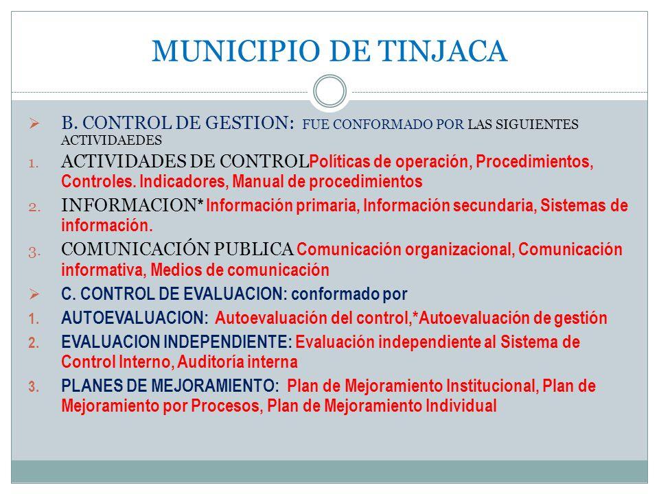 MUNICIPIO DE TINJACA B. CONTROL DE GESTION: FUE CONFORMADO POR LAS SIGUIENTES ACTIVIDAEDES.