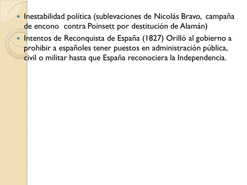 Inestabilidad política (sublevaciones de Nicolás Bravo, campaña de encono contra Poinsett por destitución de Alamán)