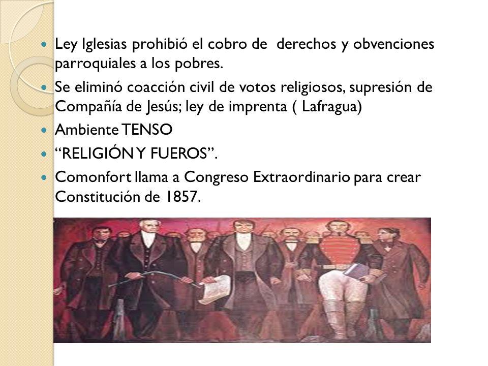 Ley Iglesias prohibió el cobro de derechos y obvenciones parroquiales a los pobres.