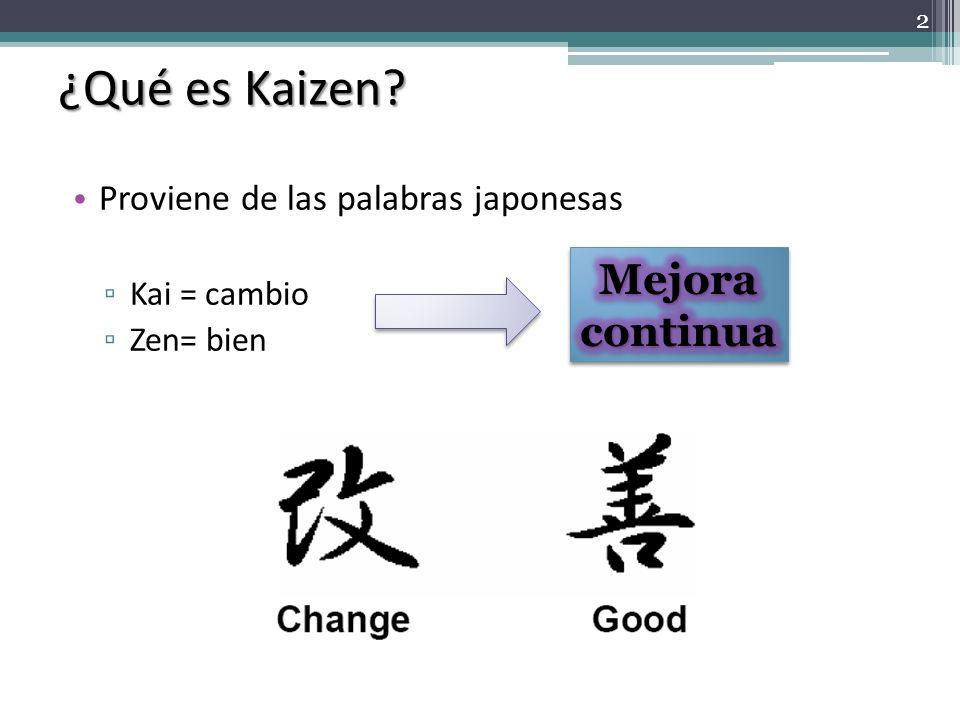 ¿Qué es Kaizen Mejora continua Proviene de las palabras japonesas