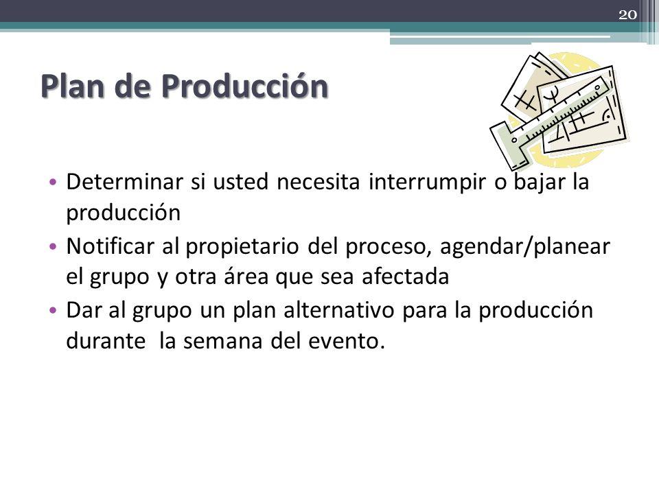Plan de Producción Determinar si usted necesita interrumpir o bajar la producción.