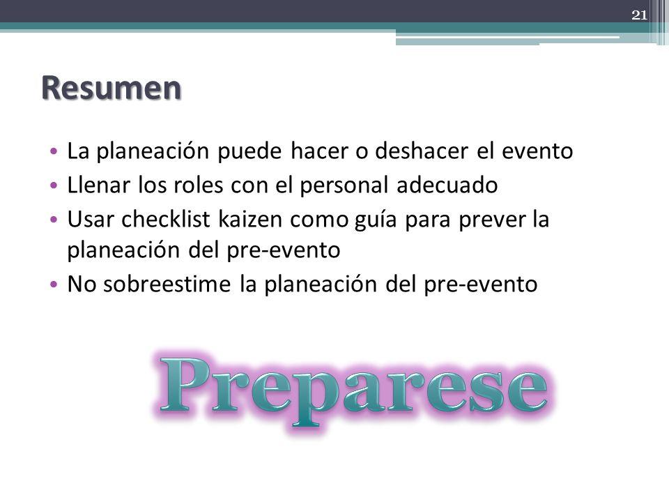 Preparese Resumen La planeación puede hacer o deshacer el evento