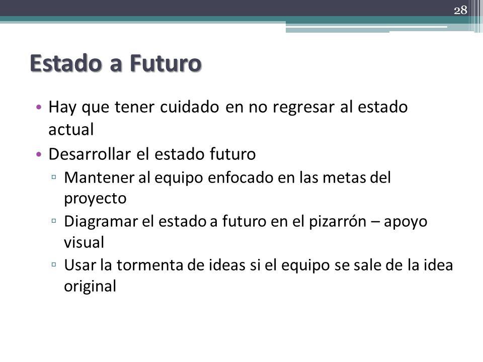 Estado a Futuro Hay que tener cuidado en no regresar al estado actual