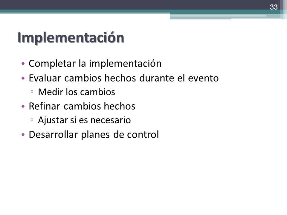 Implementación Completar la implementación