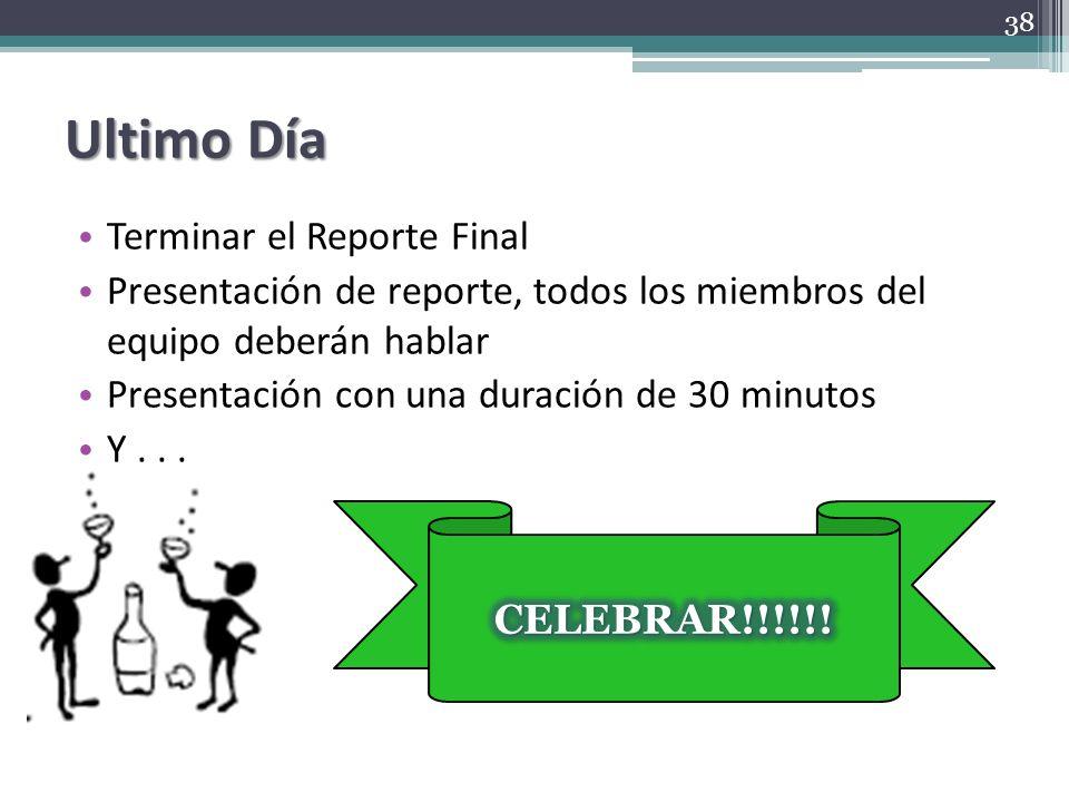 Ultimo Día Terminar el Reporte Final