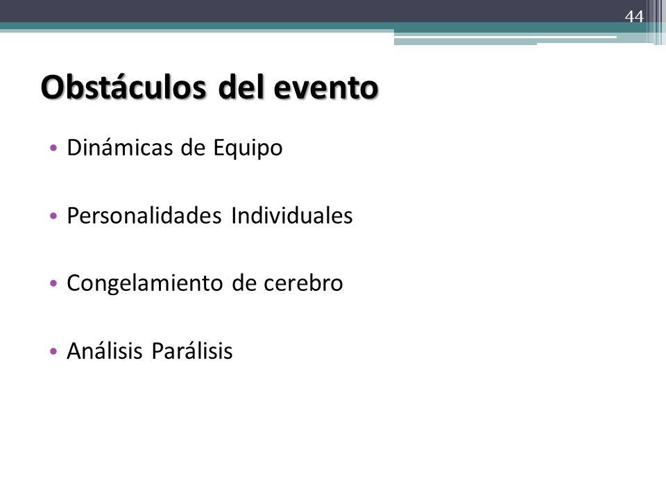 Obstáculos del evento Dinámicas de Equipo Personalidades Individuales