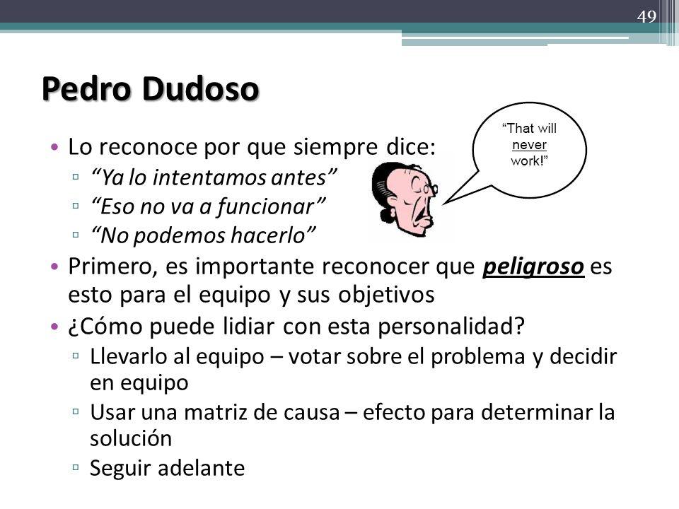Pedro Dudoso Lo reconoce por que siempre dice: