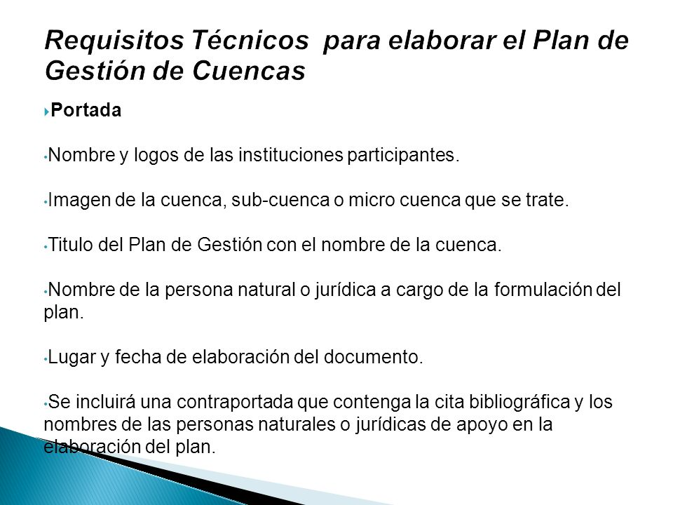 Requisitos Técnicos para elaborar el Plan de Gestión de Cuencas