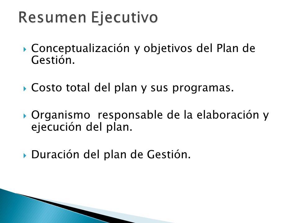 Resumen Ejecutivo Conceptualización y objetivos del Plan de Gestión.