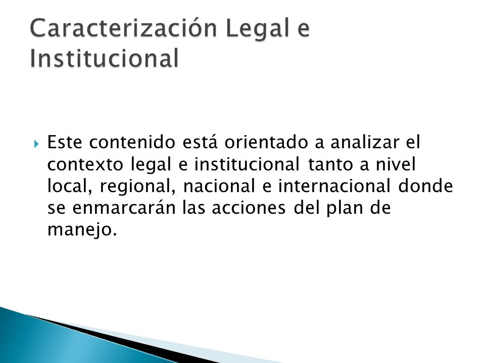 Caracterización Legal e Institucional