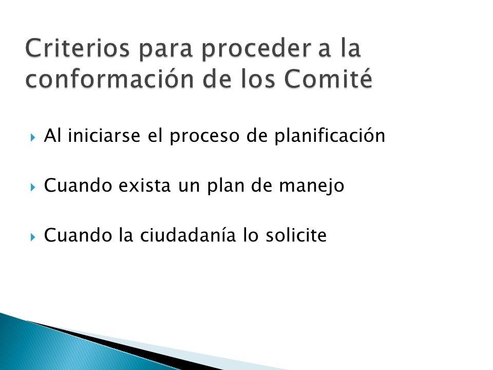 Criterios para proceder a la conformación de los Comité