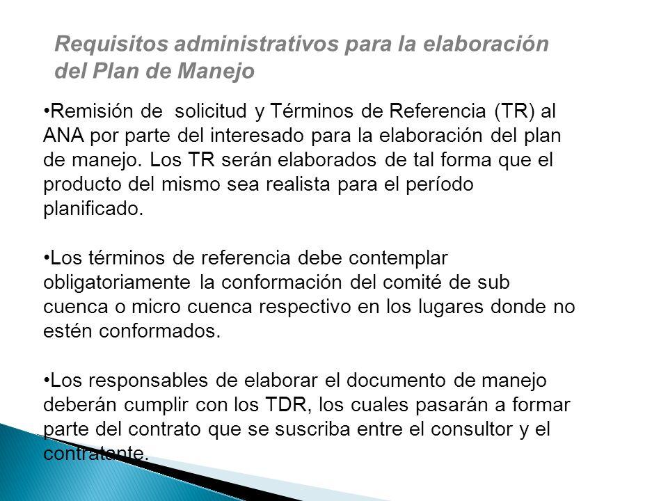Requisitos administrativos para la elaboración del Plan de Manejo