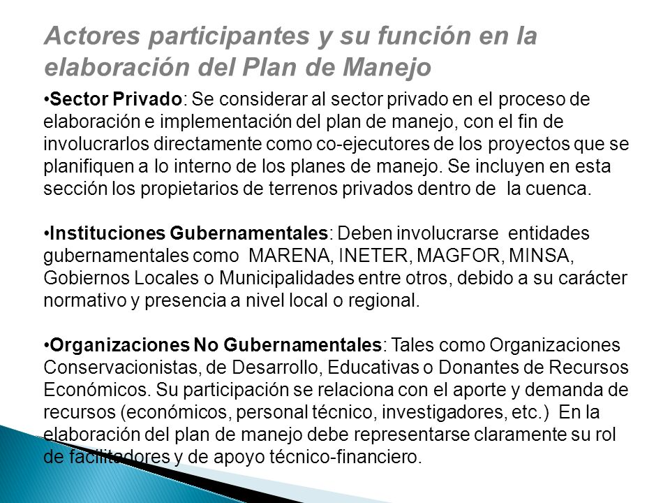 Actores participantes y su función en la elaboración del Plan de Manejo