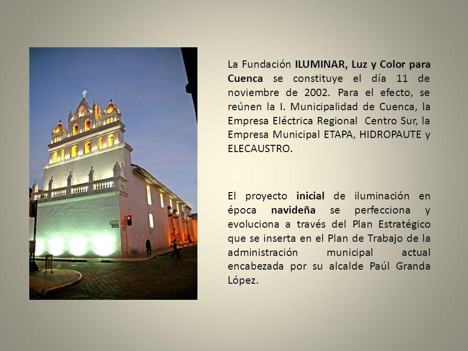 La Fundación ILUMINAR, Luz y Color para Cuenca se constituye el día 11 de noviembre de 2002. Para el efecto, se reúnen la I. Municipalidad de Cuenca, la Empresa Eléctrica Regional Centro Sur, la Empresa Municipal ETAPA, HIDROPAUTE y ELECAUSTRO.