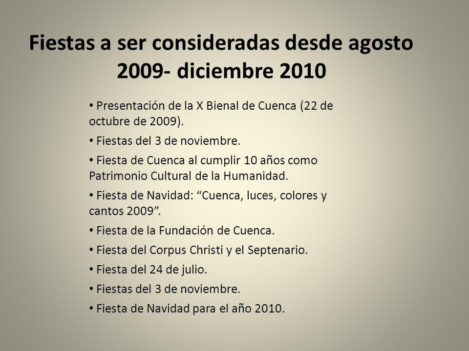 Fiestas a ser consideradas desde agosto 2009- diciembre 2010