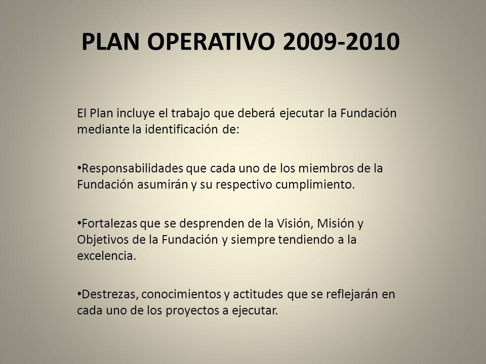 PLAN OPERATIVO 2009-2010 El Plan incluye el trabajo que deberá ejecutar la Fundación mediante la identificación de: