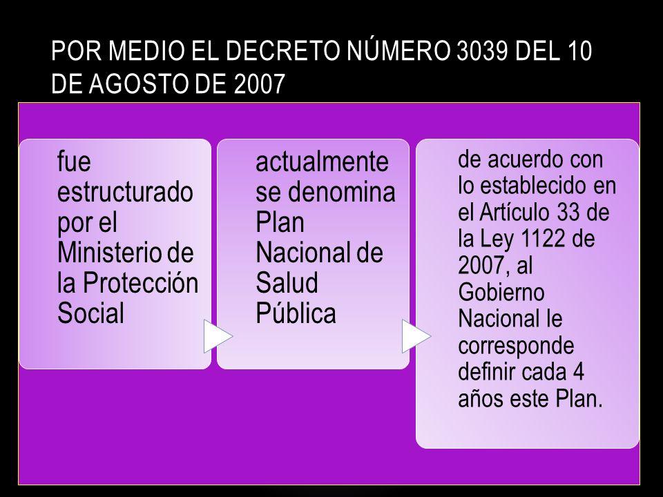 por medio el Decreto número 3039 del 10 de agosto de 2007
