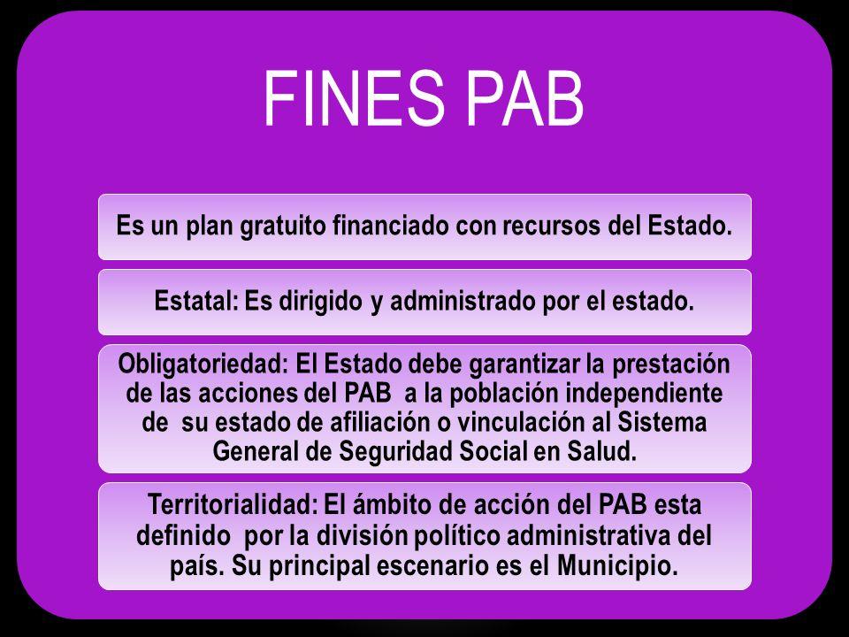 FINES PAB Es un plan gratuito financiado con recursos del Estado. Estatal: Es dirigido y administrado por el estado.