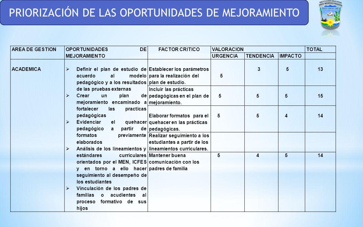 PRIORIZACIÓN DE LAS OPORTUNIDADES DE MEJORAMIENTO