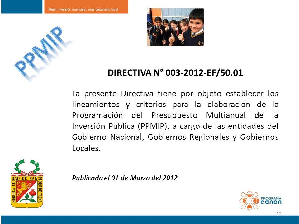 PPMIP DIRECTIVA N° 003-2012-EF/50.01