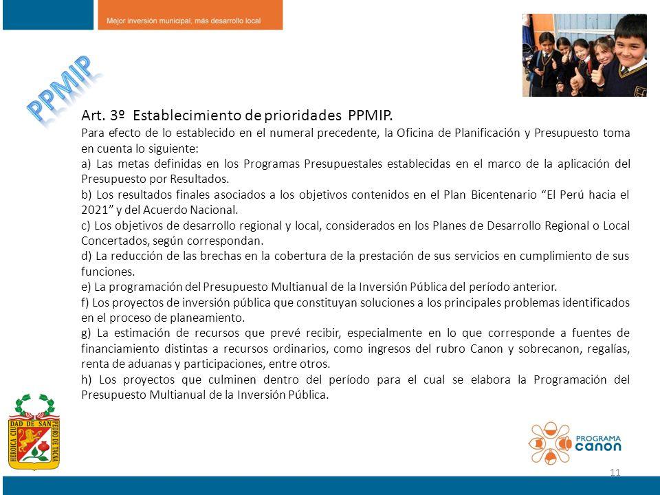 PPMIP Art. 3º Establecimiento de prioridades PPMIP.