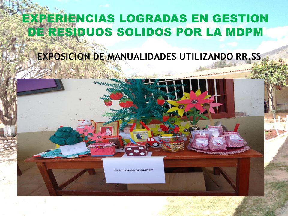 EXPERIENCIAS LOGRADAS EN GESTION DE RESIDUOS SOLIDOS POR LA MDPM