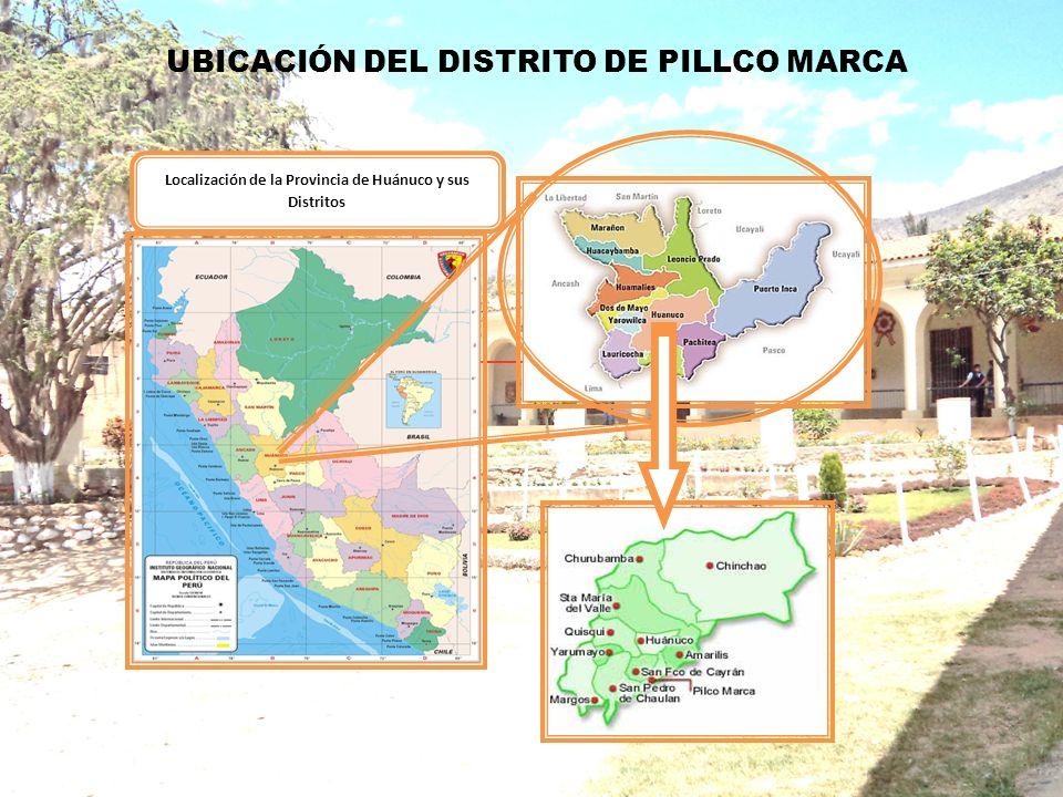 Localización de la Provincia de Huánuco y sus Distritos