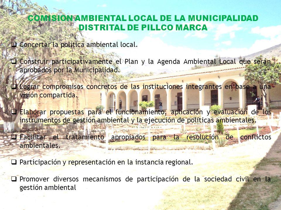 COMISION AMBIENTAL LOCAL DE LA MUNICIPALIDAD DISTRITAL DE PILLCO MARCA