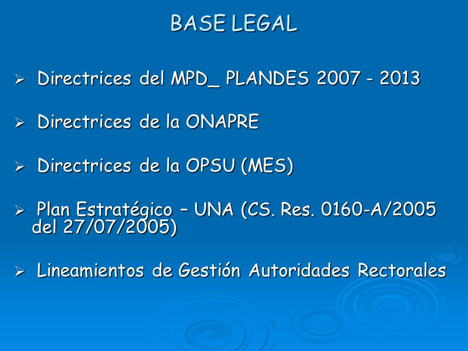 BASE LEGAL Directrices del MPD_ PLANDES 2007 - 2013