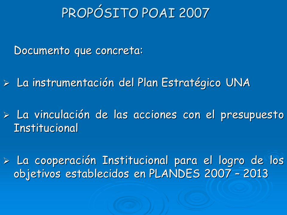 PROPÓSITO POAI 2007 Documento que concreta:
