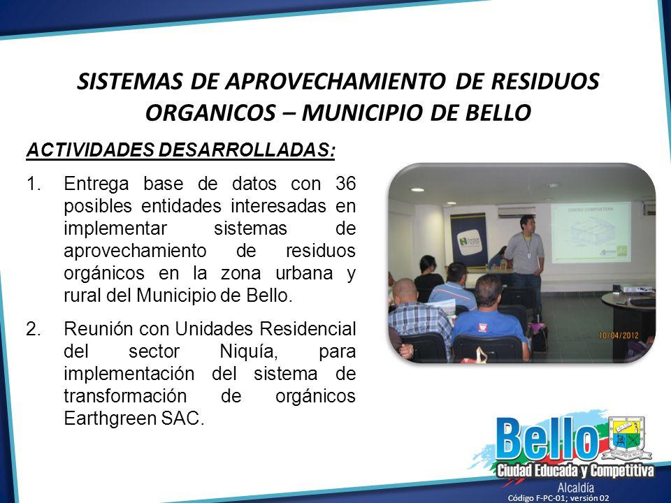 SISTEMAS DE APROVECHAMIENTO DE RESIDUOS ORGANICOS – MUNICIPIO DE BELLO