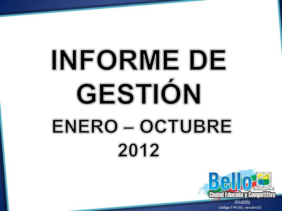 INFORME DE GESTIÓN ENERO – OCTUBRE 2012 Código F-PC-01; versión 02